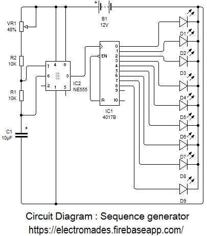 Sequence Generator Using Ic 4017 Electromades